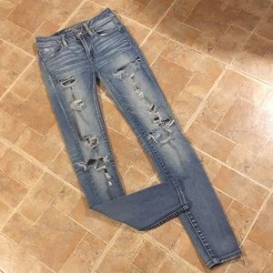 American Eagle distressed jeggings size women's 00